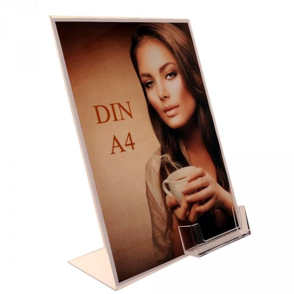 Premiumaufsteller DIN A4 mit Visitenkartenhalter Poly