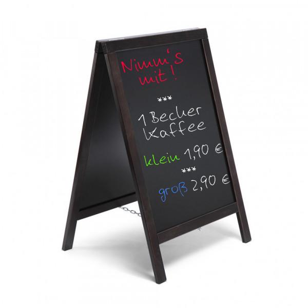 Kundenstopper Holz Gastro schwarz mit Tafel