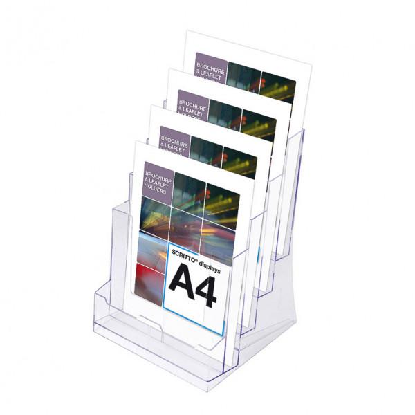 Prospektständer Scritto® DIN A4 4 Etagen - 4 Fächer