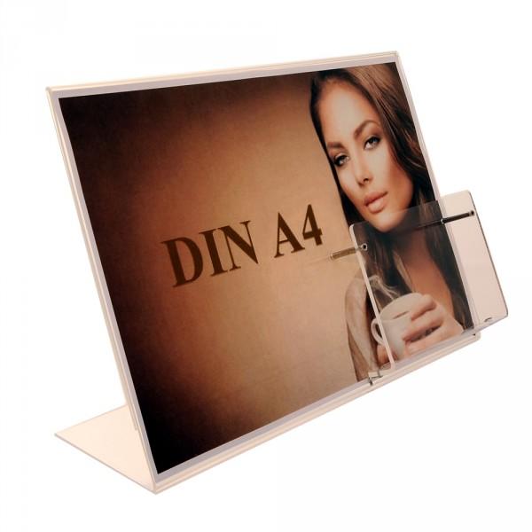 Premiumaufsteller DIN A4 Querformat mit Box DIN lang Acryl
