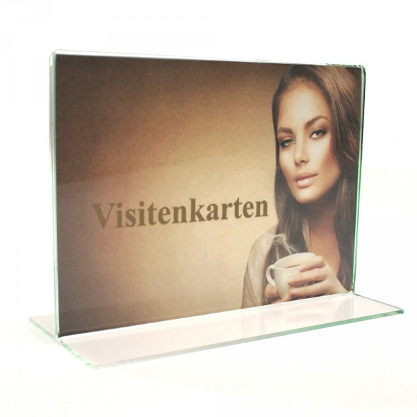 Tischaufsteller Acryl T-Form Visitenkarten quer