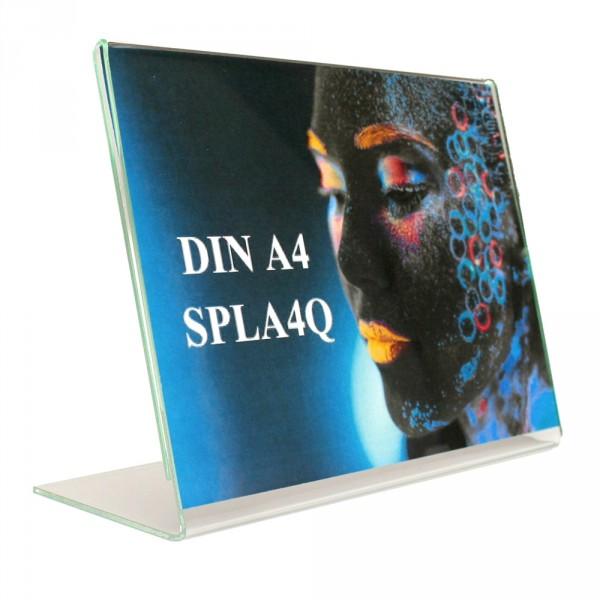 Tischaufsteller Acryl L-Form geneigt DIN A4 ECO Querformat