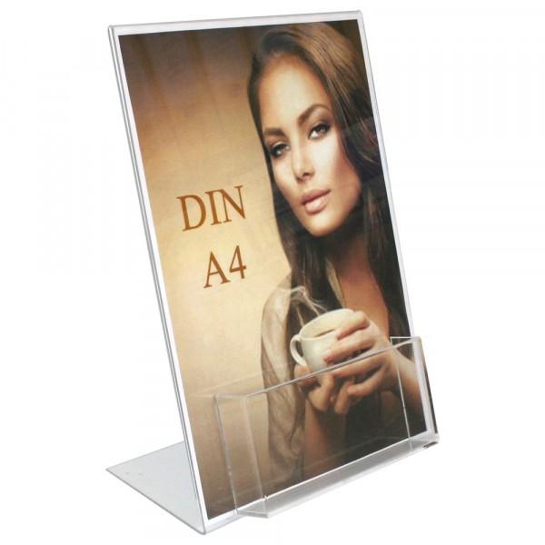 Premiumaufsteller DIN A4 mit Box DIN A6 Querformat