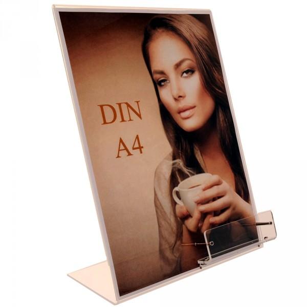 Premiumaufsteller DIN A4 mit Visitenkartenhalter Acryl